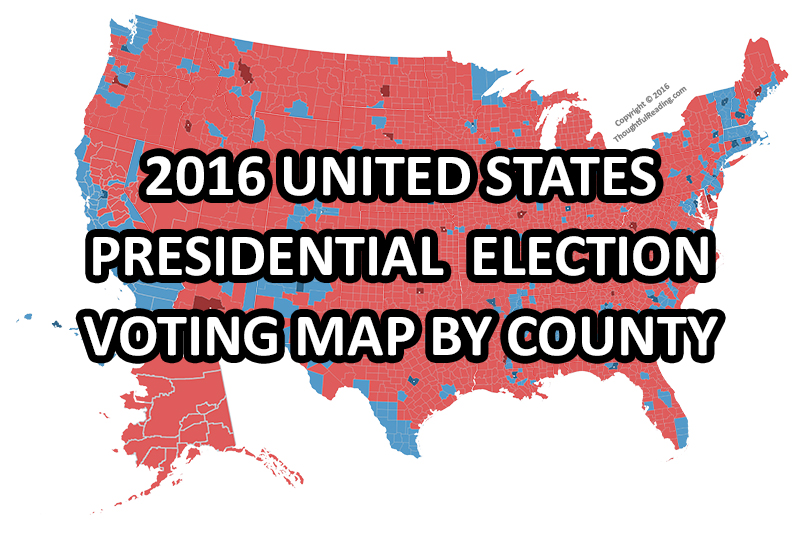2016 Presidential Election Voting Map By County Featured