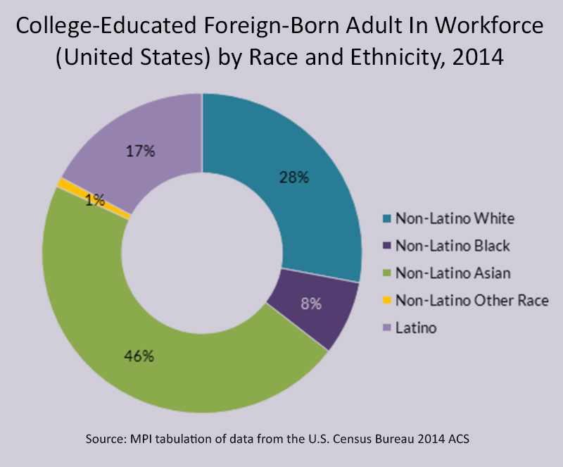 College-Educated Foreign-Born Adult In Workforce (United States) by Race and Ethnicity, 2014